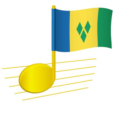 Saint Vincent and the Grenadines flag and musical note. Music background. National flag of Saint Vincent and the Grenadines and music festival concept vector illustration 일러스트
