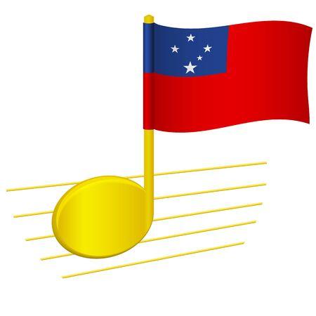 Samoa flag and musical note. Music background. National flag of Samoa and music festival concept vector illustration 일러스트