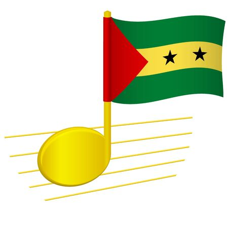 Sao Tome and Principe flag and musical note. Music background. National flag of Sao Tome and Principe and music festival concept vector illustration 일러스트
