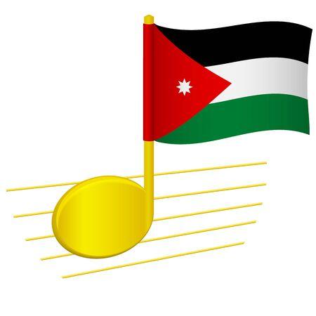 jordan flag and musical note. Music background. National flag of Jordan and music festival concept vector illustration 일러스트