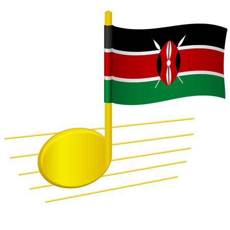 Kenya flag and musical note. Music background. National flag of Kenya and music festival concept vector illustration
