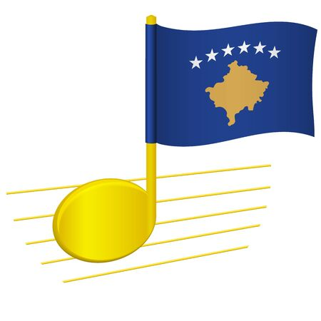 Kosovo flag and musical note. Music background. National flag of Kosovo and music festival concept vector illustration