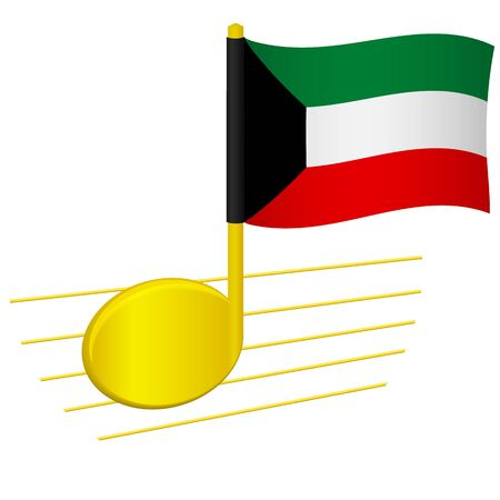 kuwait flag and musical note. Music background. National flag of Kuwait and music festival concept vector illustration