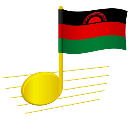 Malawi flag and musical note. Music background. National flag of Malawi and music festival concept vector illustration 일러스트