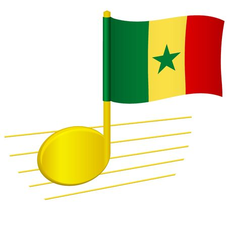 Senegal flag and musical note. Music background. National flag of Senegal and music festival concept vector illustration