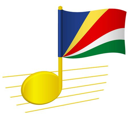 Seychelles flag and musical note. Music background. National flag of Seychelles and music festival concept vector illustration
