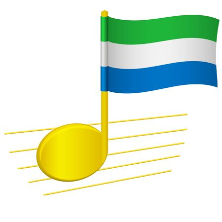 Sierra leone flag and musical note Music background. National flag of Sierra leone and music festival concept vector illustration 일러스트