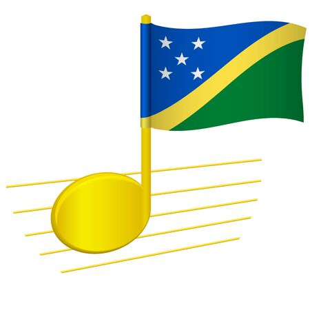 Solomon Islands flag and musical note. Music background. National flag of Solomon Islands and music festival concept vector illustration