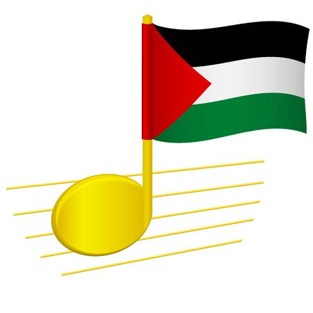 Palestine flag and musical note. Music background. National flag of Palestine and music festival concept vector illustration 일러스트