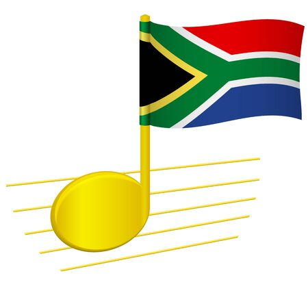 South Africa flag and musical note. Music background. National flag of South Africa and music festival concept vector illustration