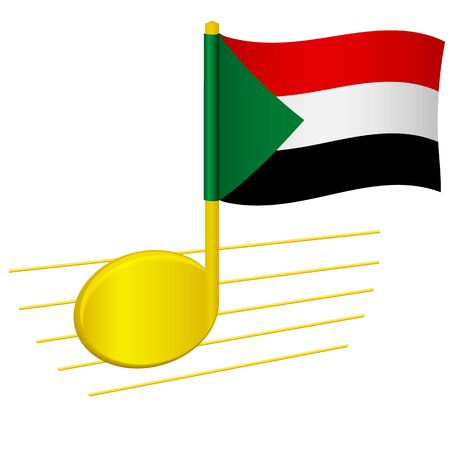 Sudan flag and musical note. Music background. National flag of Sudan and music festival concept vector illustration