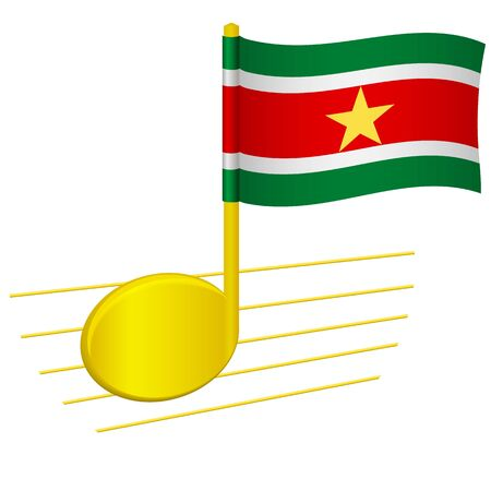 Suriname flag and musical note. Music background. National flag of Suriname and music festival concept vector illustration