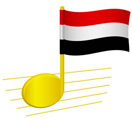 Yemen flag and musical note. Music background. National flag of Yemen and music festival concept vector illustration 일러스트