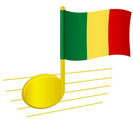 Mali flag and musical note. Music background. National flag of Mali and music festival concept vector illustration