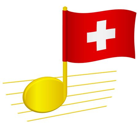 Switzerland flag and musical note. Music background. National flag of Switzerland and music festival concept vector illustration