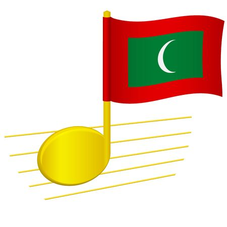 Maldives flag and musical note. Music background. National flag of Maldives and music festival concept vector illustration