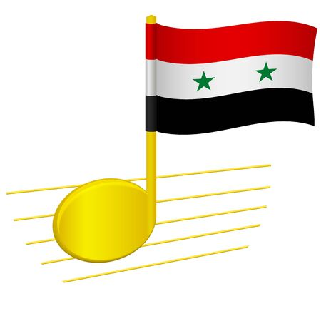 Syria flag and musical note. Music background. National flag of Syria and music festival concept vector illustration