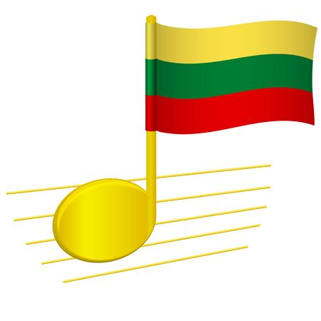 lithuania flag and musical note. Music background. National flag of lithuania and music festival concept vector illustration
