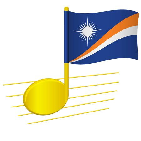 Marshall Islands flag and musical note. Music background. National flag of Marshall Islands and music festival concept vector illustration