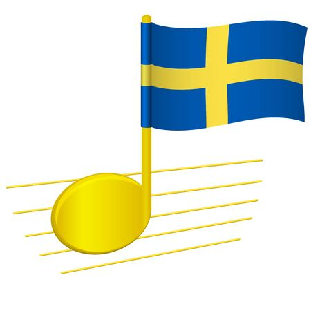 Sweden flag and musical note. Music background. National flag of Sweden and music festival concept vector illustration 스톡 콘텐츠 - 129442722