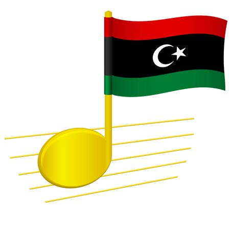 libya flag and musical note. Music background. National flag of libya and music festival concept vector illustration 일러스트