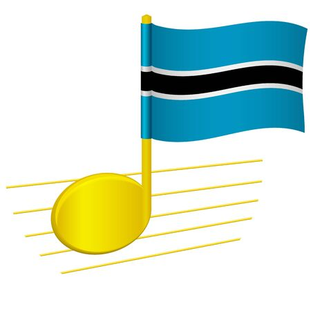 Botswana flag and musical note. Music background. National flag of Botswana and music festival concept vector illustration 일러스트