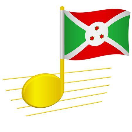 Burundi flag and musical note. Music background. National flag of Burundi and music festival concept vector illustration
