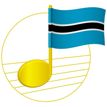 Botswana flag and musical note. Music background. National flag of Botswana and music festival concept vector illustration Çizim