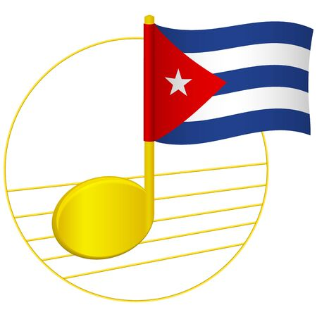 Cuba flag and musical note. Music background. National flag of Cuba and music festival concept vector illustration