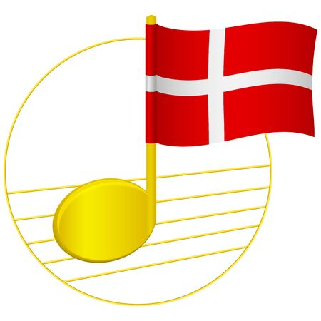Denmark flag and musical note. Music background. National flag of Denmark and music festival concept vector illustration
