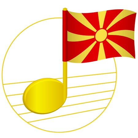 Macedonia flag and musical note. Music background. National flag of Macedonia and music festival concept vector illustration Stock Illustratie