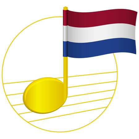 Netherlands flag and musical note. Music background. National flag of Netherlands and music festival concept vector illustration