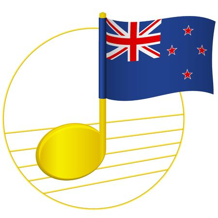 New Zealand flag and musical note. Music background. National flag of New Zealand and music festival concept vector illustration