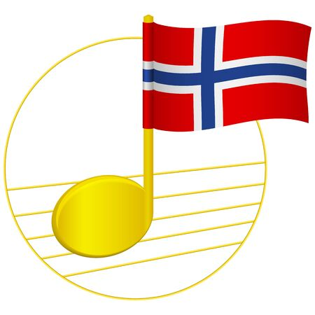 Norway flag and musical note. Music background. National flag of Norway and music festival concept vector illustration