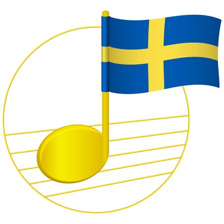 Sweden flag and musical note. Music background. National flag of Sweden and music festival concept vector illustration  イラスト・ベクター素材