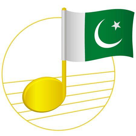Pakistan flag and musical note. Music background. National flag of Pakistan and music festival concept vector illustration Ilustração