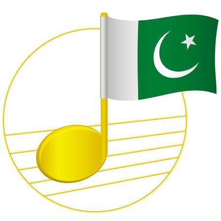 Pakistan flag and musical note. Music background. National flag of Pakistan and music festival concept vector illustration Illustration
