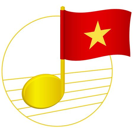 Vietnam flag and musical note. Music background. National flag of Vietnam and music festival concept vector illustration