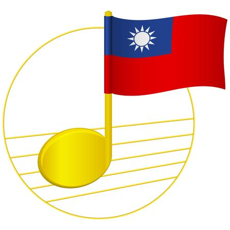 Taiwan flag and musical note. Music background. National flag of Taiwan and music festival concept vector illustration