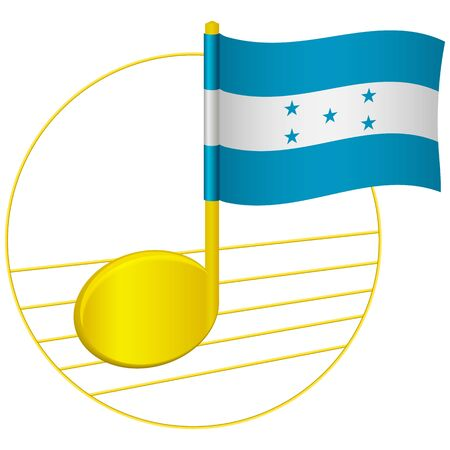 Honduras flag and musical note. Music background. National flag of Honduras and music festival concept vector illustration Çizim