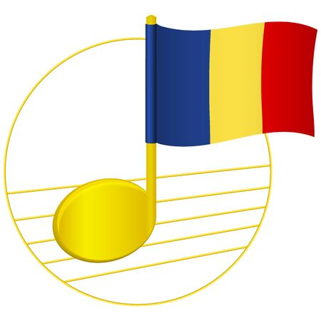 Romania flag and musical note. Music background. National flag of Romania and music festival concept vector illustration