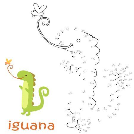 Livre de coloriage et jeu de point à point pour les enfants. Jeu de nombres. illustration vectorielle iguane
