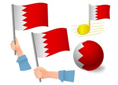 Jeu d'icônes de drapeau de Bahreïn. Drapeau national de Bahreïn illustration vectorielle