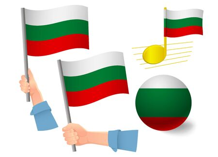 Bulgaria flag icon set. National flag of Bulgaria vector illustration 向量圖像