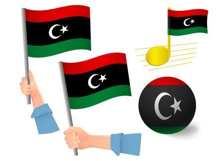 libya flag icon set. National flag of libya vector illustration Stock Illustratie