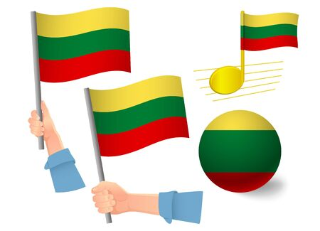 lithuania flag icon set. National flag of lithuania vector illustration