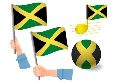Jamaica flag icon set. National flag of Jamaica vector illustration