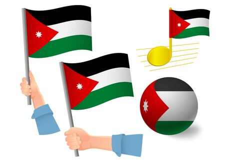 jordan flag icon set. National flag of Jordan vector illustration
