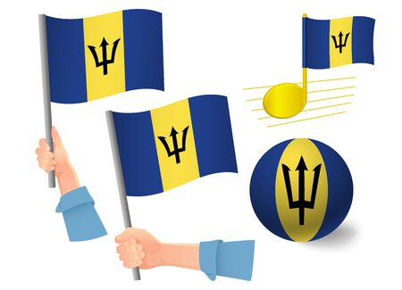 Barbados flag icon set. National flag of Barbados vector illustration