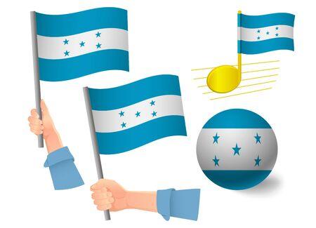 Honduras flag icon set. National flag of Honduras vector illustration Illustration